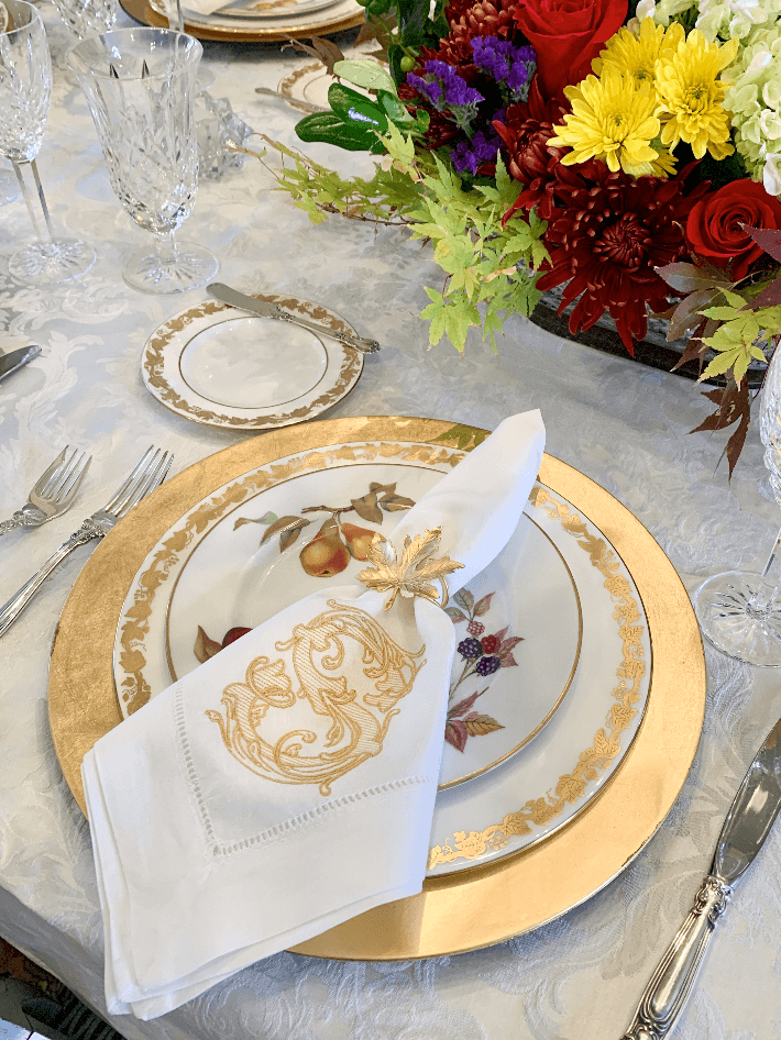 Monogrammed Linen Napkins by Mia Davis Designs at Dogwood Hill.