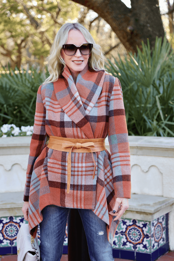 Dallas fashionista Truly Megan wearing Chicwish Robato Wrap Coat and Ada Collection Wrap Belt.