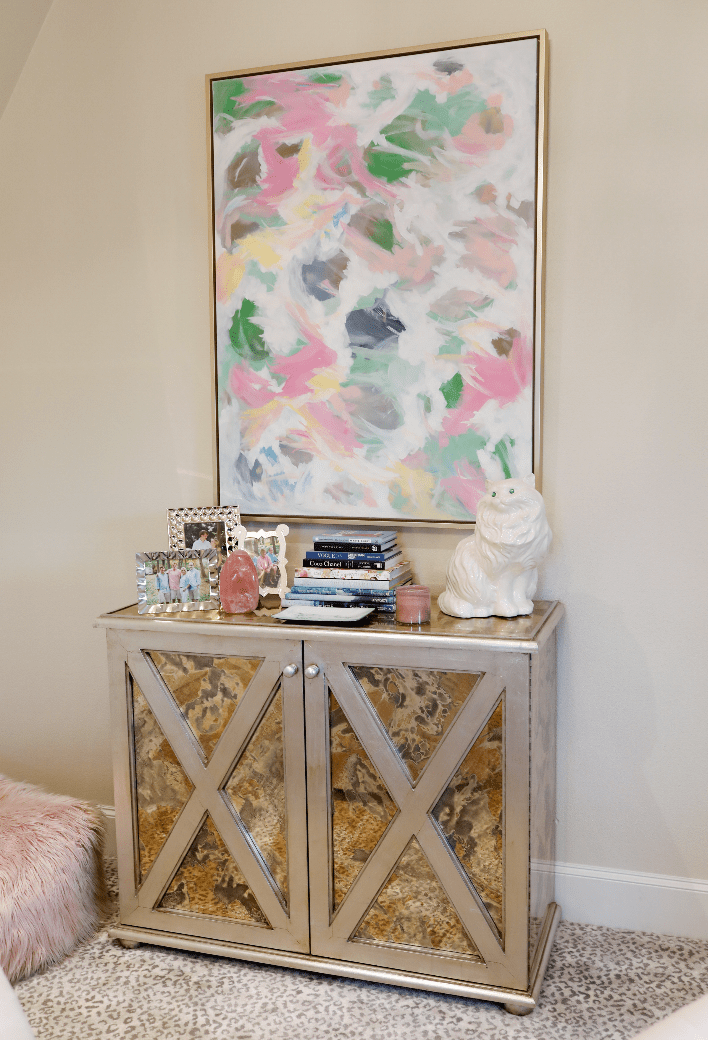 Dallas blogger shares office decor inspiration and painting by Lori Rayfield Original Art.