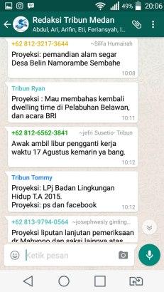 """PROYEKSI liputan yang disampaikan reporter di grup WhatsApp """"Redaksi Tribun Medan"""". (FOTO: TRULY OKTO PURBA)"""