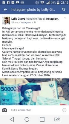 POSTINGAN foto uang honor Lelly Giawa di akun instagram dan facebook, Selasa (18/10/2016). (FOTO: TRULY OKTO PURBA)
