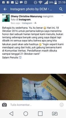 POSTINGAN foto uang honor Dheny Christine Manurung di akun instagram dan facebook, Selasa (18/10/2016). (FOTO: TRULY OKTO PURBA)