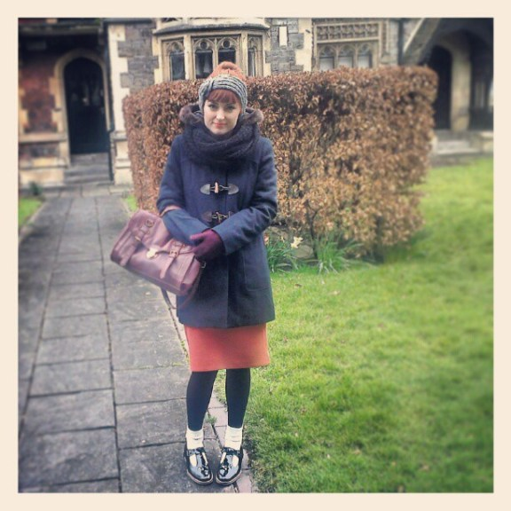Coat: ASOS, Bag: New Look, Skirt: Ebay, Socks: H&M, Shoes: Topshop, Scarf: H&M, Gloves: H&M, Headpiece: Primark.