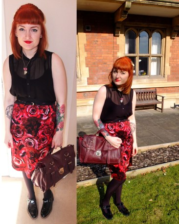 Black sleeveless shirt: Topshop, Skirt: Dorothy Perkins, Bag: New Look, Necklace: Accessorize. Lipstick: Russian Red MAC