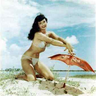 Bettie-Page-White-Bathing-Suit-Beach-Photograph-5