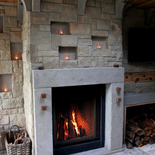 Outdoor Fireplace Mantel Design (Trumeau Stones)