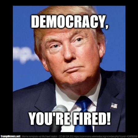 """Photo of Donald Trump with the words """"Democracy, You're Fired"""""""