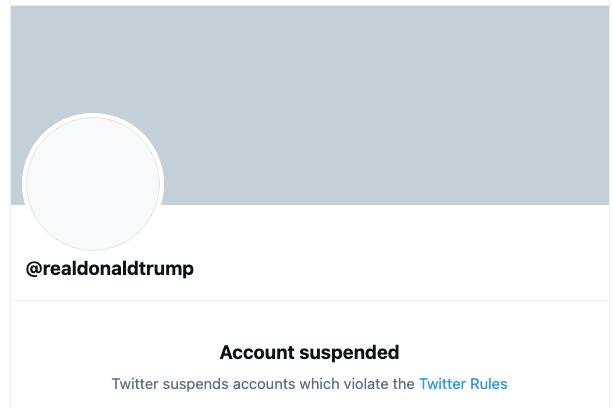 Screenshot of Trump's Twitter suspension