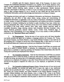Trump's 2016 Campaign Agreement : NDA Page 2