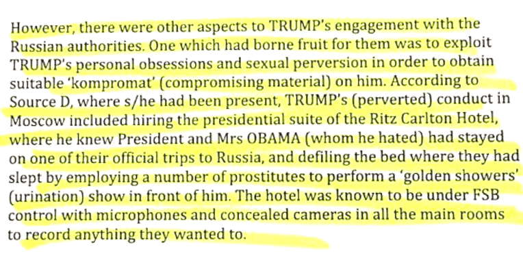 Excerpt from an FBI dossier alleging that Donald Trump paid prostitutes to urinate on a bed for his pleasure