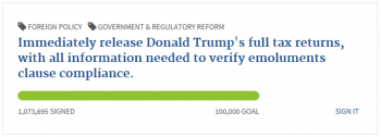Example of a White House petition goal