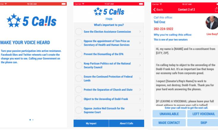 Screenshots of the app Make 5 Calls