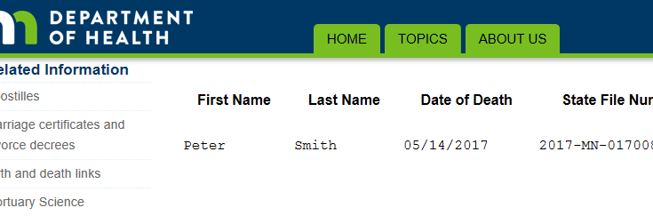 Search result from Minnesota government website