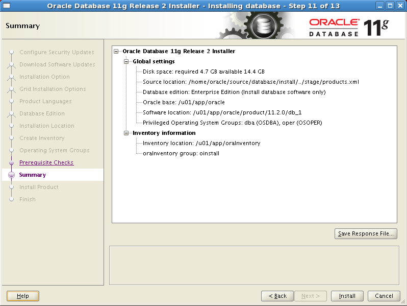 Install Oracle software 11