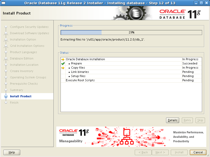 Install Oracle software 12