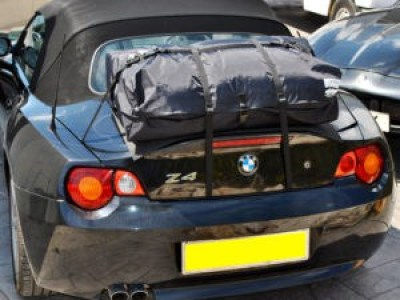 fiat 124 spider luggage rack bootbag vacation shown on bmw z4