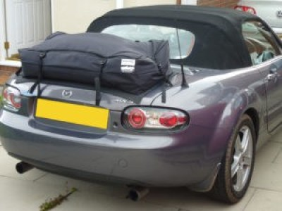 bootbag vacation luggage rack fitted to miata nc