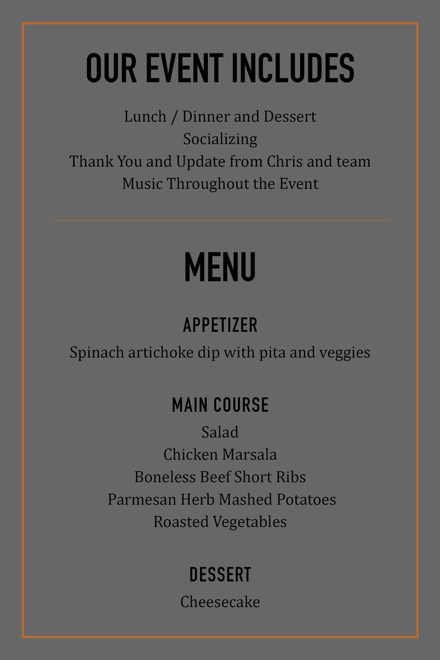 Client Appreciation Dinner Invite Back