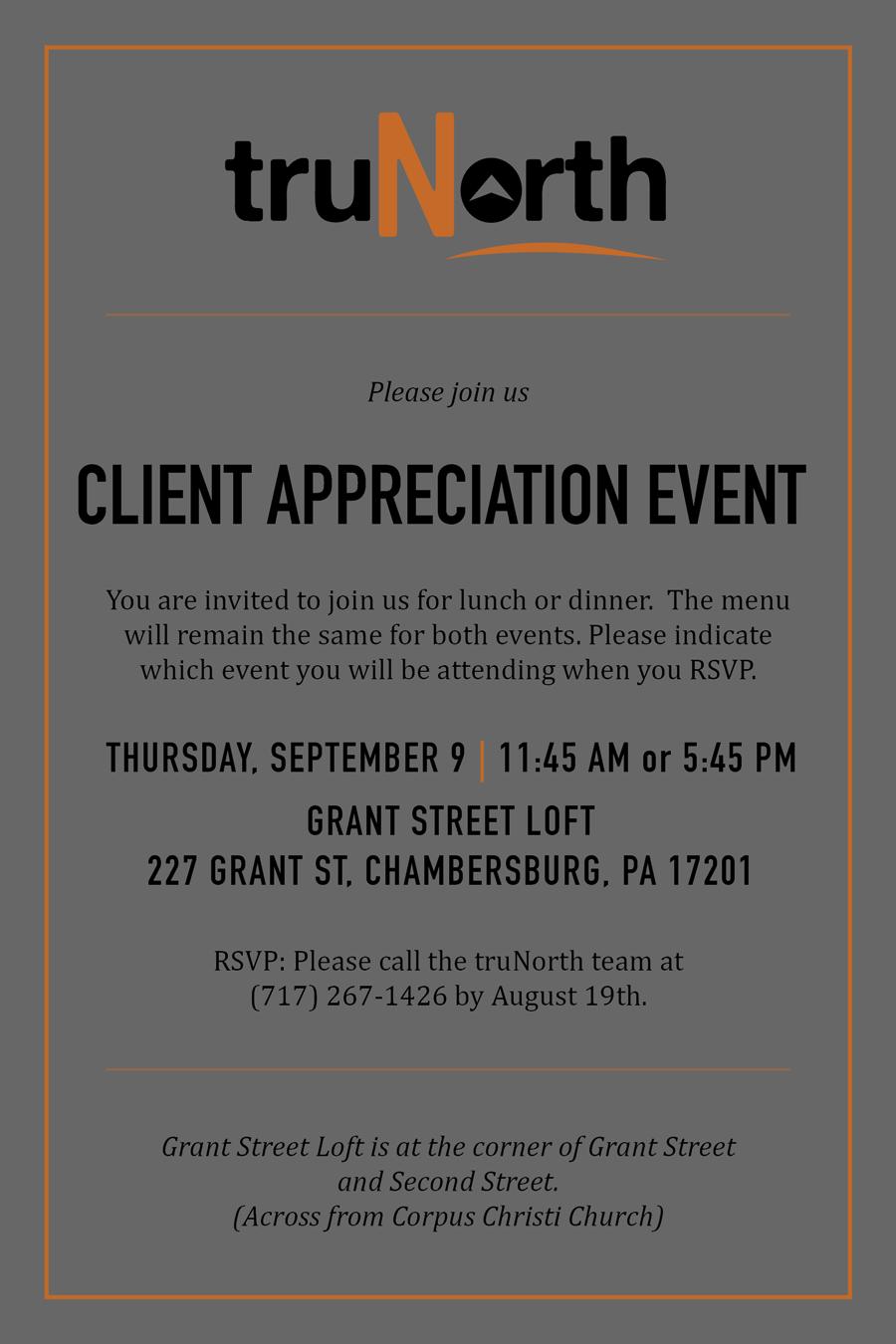 Client Appreciation Dinner Invite Front