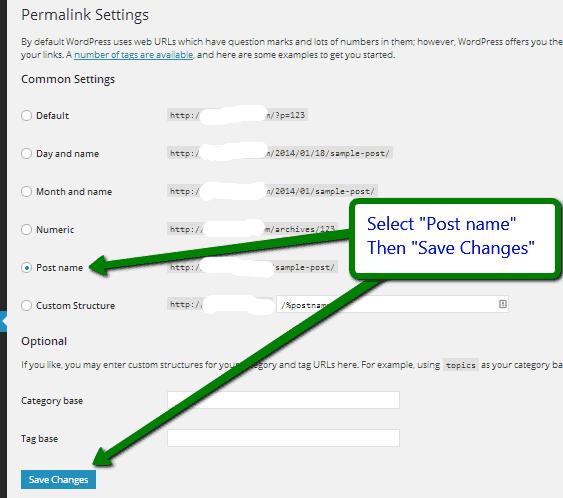 set WordPress links