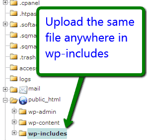 upload htaccess file in wordpress includes