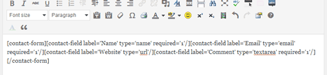 Generated contact form code