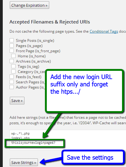 Exclude the new Login URL from WP Super Cache