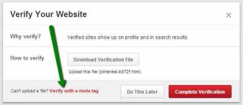 Pinterest Meta tag Verification