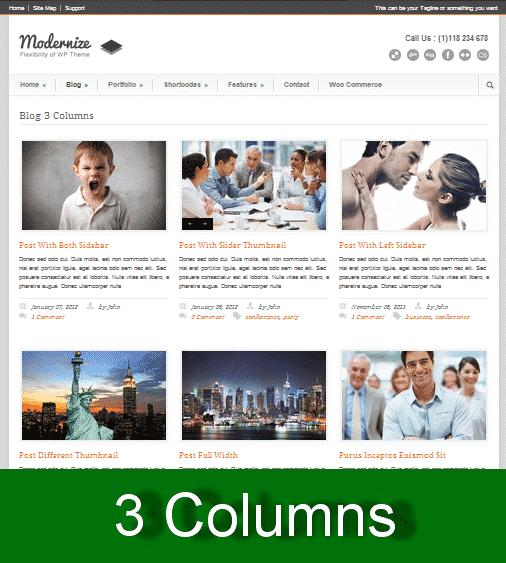 3 columns wordpress theme