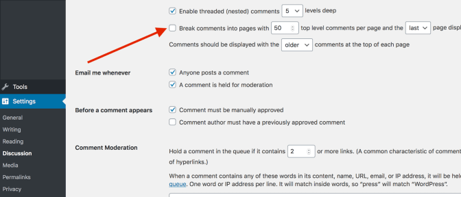 Break comments into pages for faster loading time