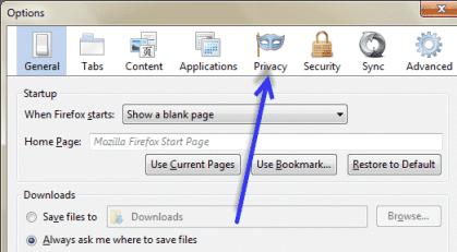 Firefox privacy tab
