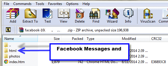 open facebook archive