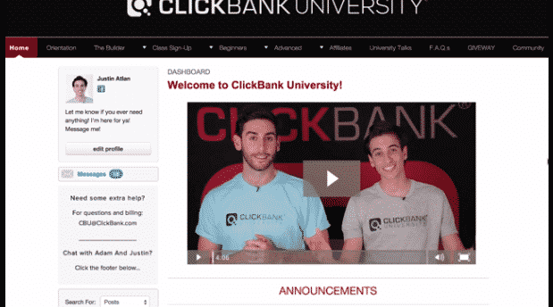 ClickBank University member area
