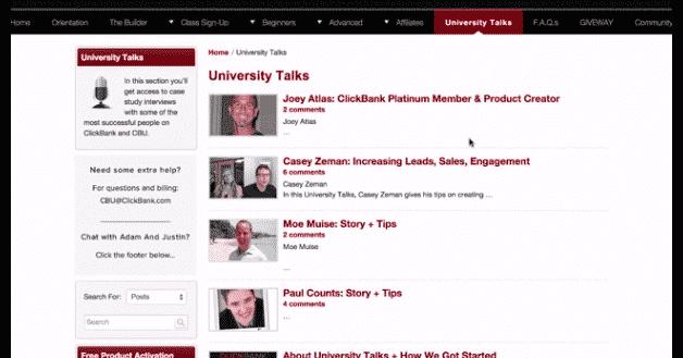 ClickBank University talks