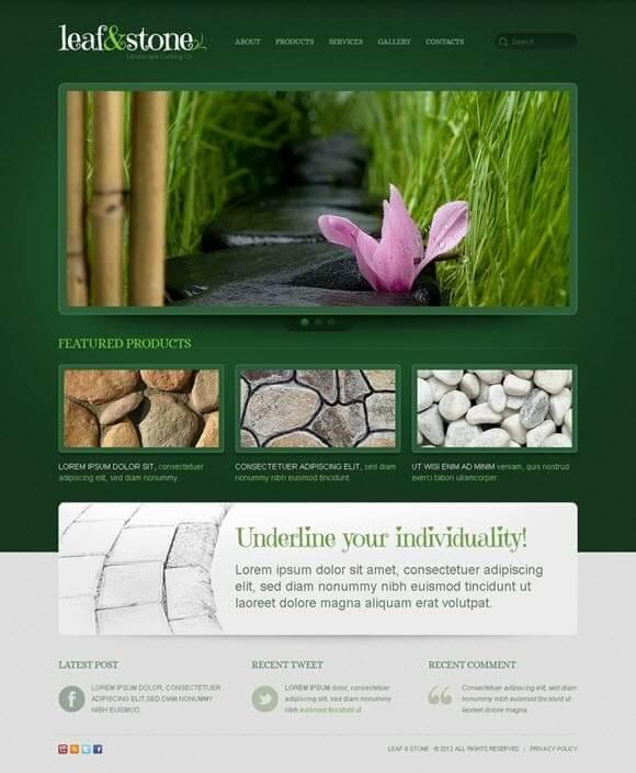 Leaf and stone design
