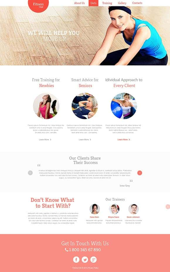 Fitness club template