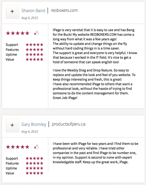iPage vs Bluehost Customer reviews