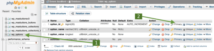 fixing the database table missing checkbox