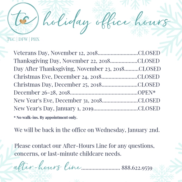 trusting connections holiday office hours