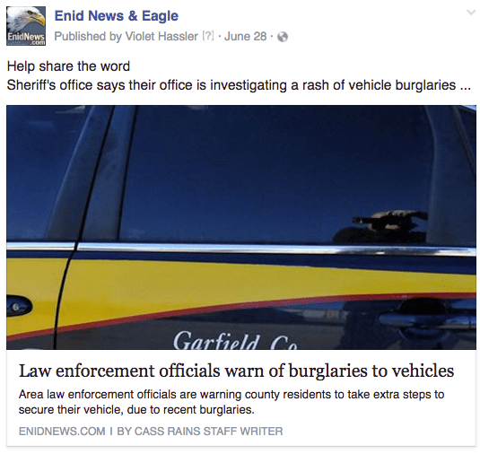Enid vehicle burglaries