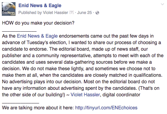 Enid endorsements
