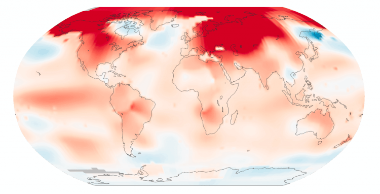 réchauffement climatique record température NASA février february