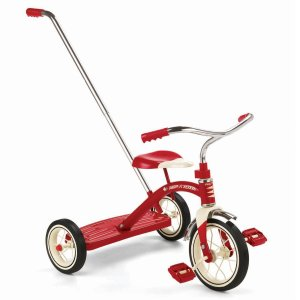 7. Radio Flyer Classic Tricycle with Push Handle, Red