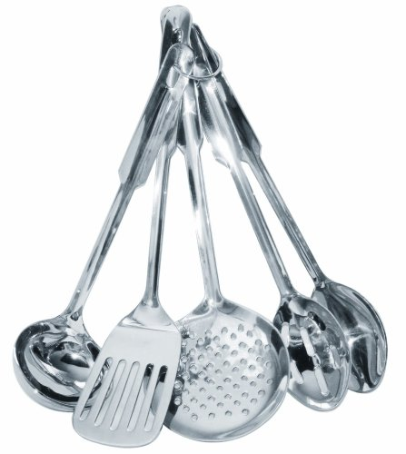 2. Amco Stainless Steel 5-Piece Cooking Utensils Set