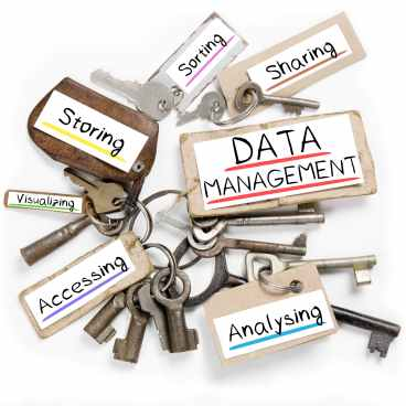 Photo of key bunch and paper tags with DATA MANAGEMENT conceptual words