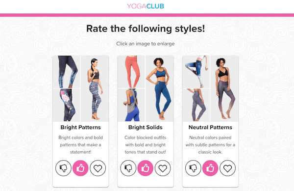 Rate styles in the YogaClub quiz