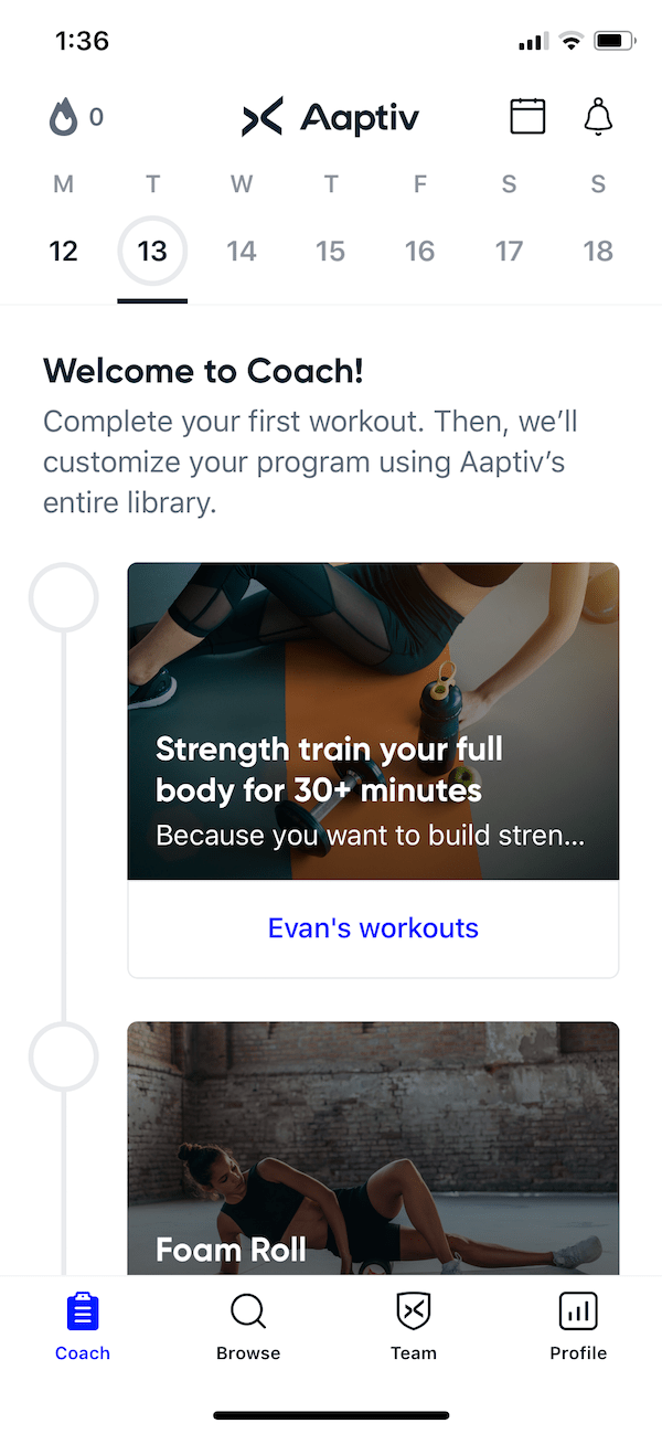 Aaptiv coach workouts