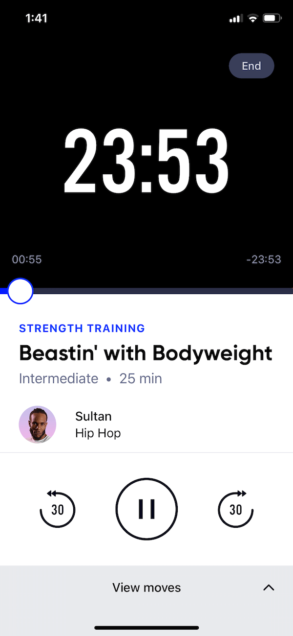 Aaptiv workout screen