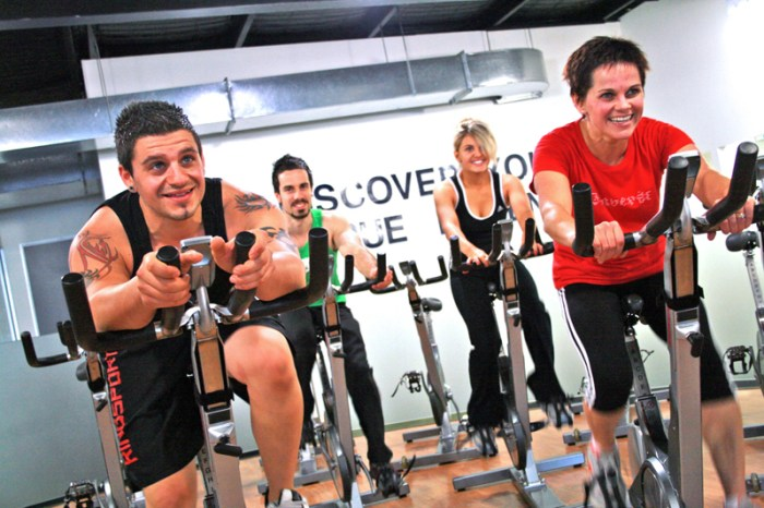 A spin class working up a sweat