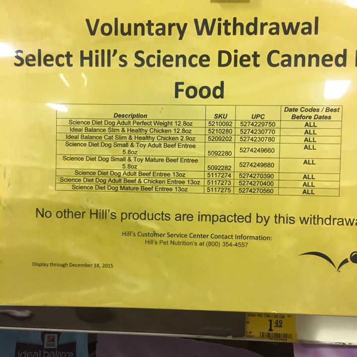 Science Diet Withdrawal Notice